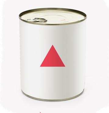 Foco en Creatividad. Rafael Armero. Una lata blanca con triángulo rojo.